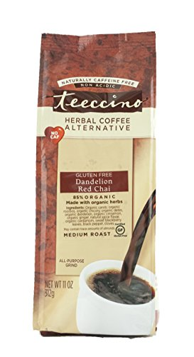 Teeccino Dandelion Red Chai Chicory Herbal Coffee Alternative, Gluten Free, Caffeine Free, Acid Free, 11 Ounce