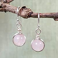 Rose Quartz Gemstone Minimal Drop Earrings - 925 Sterling Silver