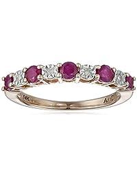 14k Gold Gemstone and Diamond Ring, Size 7