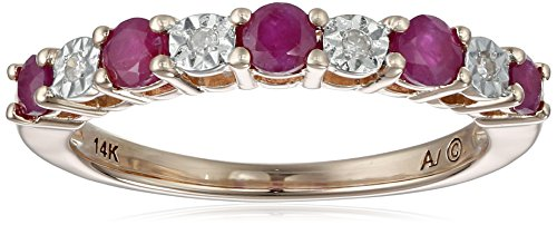 14k Rose Gold Ruby and Diamond Ring (.02 cttw, I-J Color, I2-I3 Clarity), Size 7
