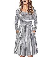KILIG Women Summer Short Sleeve Round Neck Casual Striped T Shirt Midi Dress with Pockets
