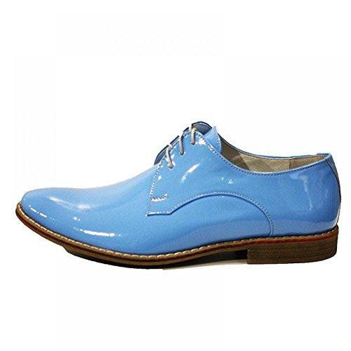 PeppeShoes Modello Cologno Monzese - Handmade Italiano da Uomo in Pelle Blu Scarpe da Sera - Vacchetta Pelle di Brevetto - Allacciare