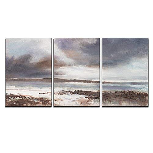 3 Piece Canvas Wall Art - Original Oil Painting, Stormy Beach Seascape. - Modern Home Art Stretched and Framed Ready to Hang - 16