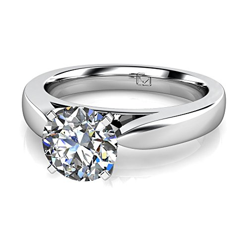 Platinum This narrow delicate setting is perfect for allowing all of the attention to be geared toward your center stone. null. This item includes a free Cubic Zirconia center in the shape shown.