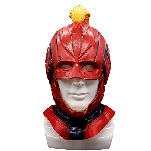 BestCoser Captain Marvel Helmet Carol Danvers Mask Red Latex Cosplay Mask for Men Women -