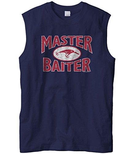 Cybertela Men's Master Baiter Fish Lure, Funny Fishing Sleeveless T-Shirt (Navy Blue, -