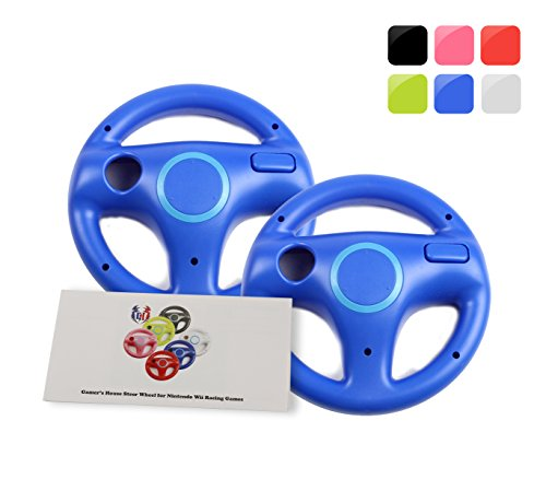 Wii Racing Game Steering Wheel (GH 2Pcs Wii(U) \ Wii Wheel for Mario Kart 8 and Other Nintendo Remote Steering Games , Wii Steering Wheel - Kinopio Blue (6 Colors Available))