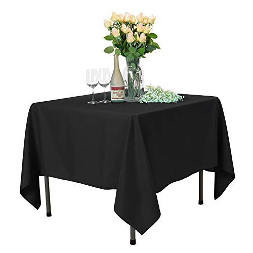 Restaurant Covers Table (VEEYOO Square Tablecloth 70 inch - Solid Polyester Table Cover for Wedding Restaurant Party Coffee Shop Picnic, Black Table Cloth)