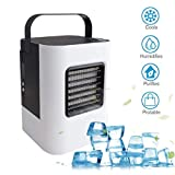 Dirance Mini Portable Personal Desktop Air Conditioner Fan 3-Speed Super Quiet Air Evaporation Circulator Cooler Air Humidifier Office Dorm, USB Charging (White)