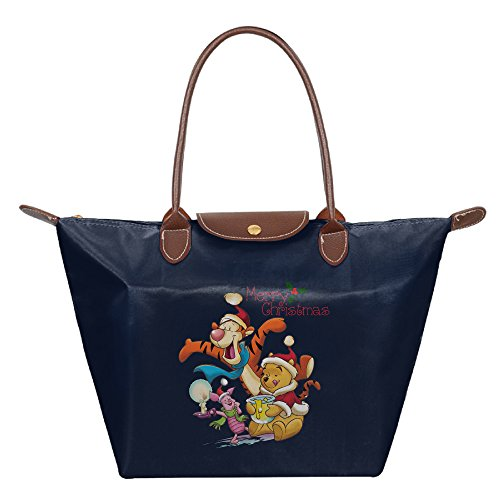 Merry Christmas Pooh Waterproof Nylon Bags For Women Navy ()