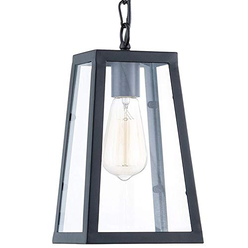 Lampundit Industrial Metal Pendant Lighting, Iron Frame Square Lantern Mini Hanging Light Fixture, Matte Black Finish with Clear Glass Panels, UL Listed