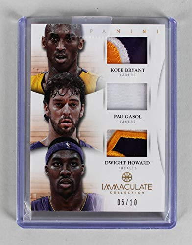 - 2012-13 Panini Immaculate - Lakers Trio Kobe Bryant, Pau Gasol & Dwight Howard Game-Used Jersey Patch Card