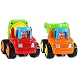 Toyshine Unbreakable ABS Plastic Automobile Cars Unbreakable, Cement Mixer and Dumper (Red, Pack of 2)