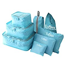 Packing Cubes - 8 Set Travel Packing Cubes-by Evatex, with Waterproof Shoe Bag, cosmetic bag, diaper bag, Laundry Bag (Blue)