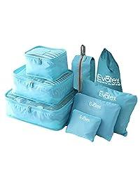 Evatex Packing Cubes - 8 psc Set Travel Packing Cubes, Waterproof, Shoe Bag, cosmetics/Laundry Bag (Blue)