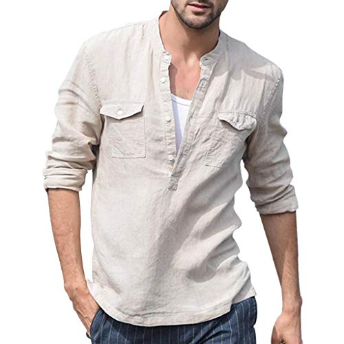New Mens Baggy Cotton Linen Pocket Solid Long Sleeve Retro T Shirts Henley Tops Khaki