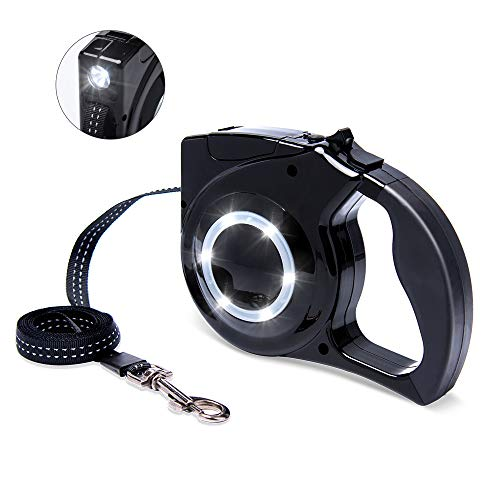 Retractable Dog Leash with Led - Automatic Dog Leash Dog Telescopic Tractor with LED Light Waterproof 13ft Button Control Dog Leash with Reflective Stitching Safe for Night Walki (Retractable Leash Flashlight Dog)