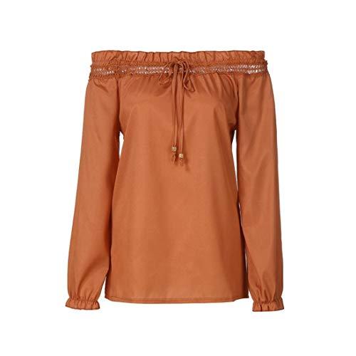 Sweatshirt Camicia Maglia Donna Tops Camicetta Maglietta,Donne Daily Pocket Sporche Casual Top T Shirt Donna Sciolto Manica Lunga Camicetta,Yesmile ?arancione