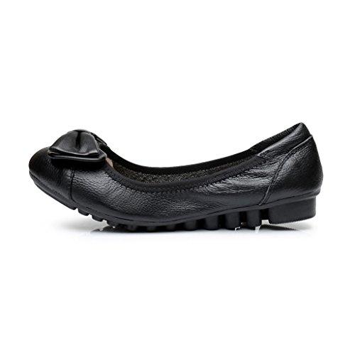 Zapatillas Antirreflejos De Cuero Para Mujer Pisos De Ballet Con Cordones Negros