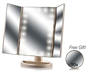 Tri-Fold Lighted Magnification Makeup Mirror   Magnifying Cosmetic Vanity Folding Mirrors for Dresser and Travel with a FREE 10X Spot Mirror   21 LED Lights & Touch Controls   1X/2X/3X (Gold)