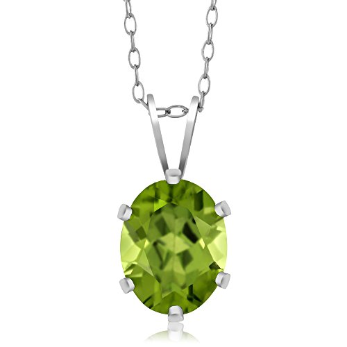 (Gem Stone King Sterling Silver Green Peridot Pendant Necklace (2.00 cttw, Oval 9X7MM, With 18 Inch Silver Chain))