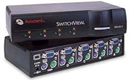 4port Cybex Switchview KVM 1user PS2/ser for Pc - with 2-cables