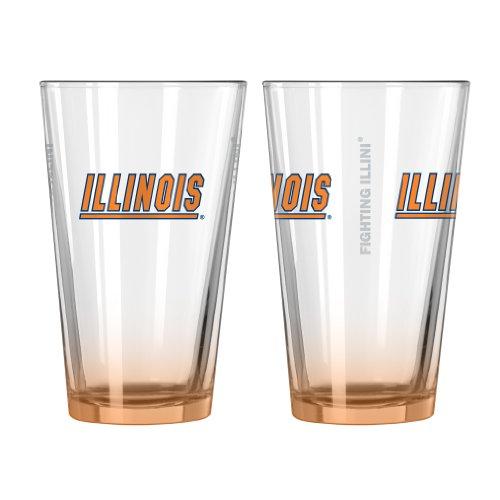 Glass Illini Fighting Illinois (NCAA Illinois Fighting Illini Elite Pint Glass Set, 16-ounce, 2-Pack)