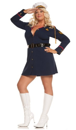 Officer And A Gentleman Fancy Dress Costume (Elegant Moments Women's Plus-Size Gentleman's Officer-Plus, Navy, 1X/2X)