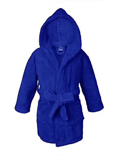 Robe Hooded Blue (Towel Bazaar Boys and Girls Ultra Soft and Cozy Kids Plush Hooded Fleece Robe (Royal Blue, Small))
