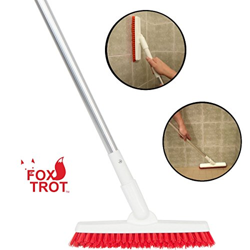 Grout Brush With Long Handle - Extendable Telescopic Handle - Kitchen | Shower | Tub | Tile Scrub Brush by Foxtrot Living (Tile Grout Cleaning)