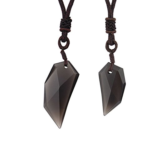 Obsidian Wolf-tooth Amulet Pendant Couple Necklaces for His & Hers- Zodiac Birthstone -[1 Pair] by Oudin