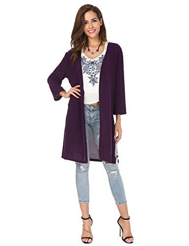 Womens Open Front Long Cardigan 3/4 Sleeve Knit Shirt Long Sweaters Loose Shirts