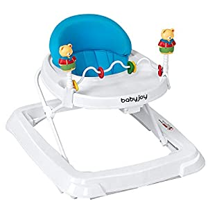 BABY JOY Baby Walker, Foldable Activity Walker Helper with Adjustable Height, Baby Activity Walker with High Back Padded…