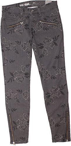 Vans G Moto Skinny Denim Jeans Grey Roses Womens (Skinny Vans)