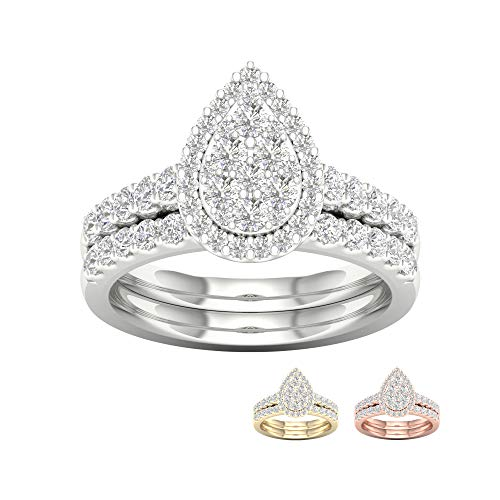 Composite Diamond Pear-Shaped Frame Bridal Set with IGI CERTIFIED in 1ct TDW 14K White Gold (I-J, I2) (Best Setting For A Pear Shaped Diamond)
