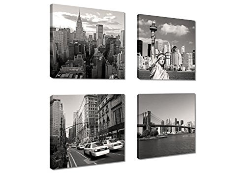 Canvas Print For Home Decoration 4 Panels New York City Landmark Painting Wall Art Picture Print On Canvas   High Definition Modern Giclee Artwork