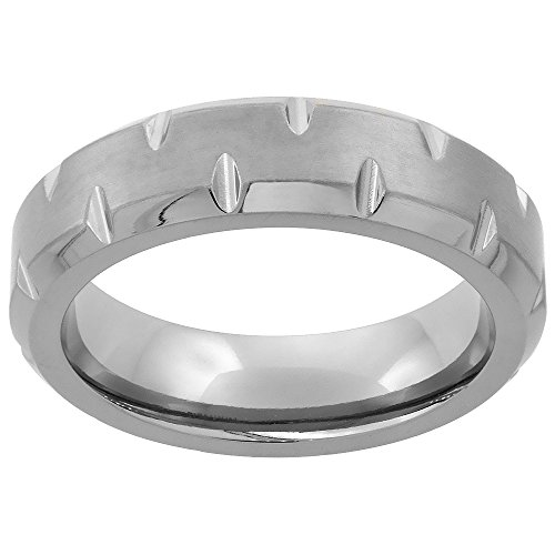 Titanium Wedding Notched Beveled Brushed