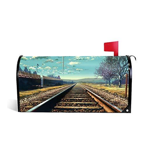 Mefond Magnetic Mailbox Cover Railway Track Post Letter Box Wraps Garden Yard Home Decor for Outside Oversized 25.5