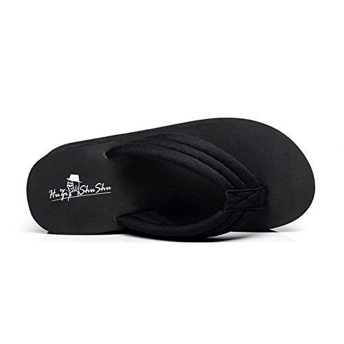 Et des Élégantes La de de Chaussures Plate Coins de Forme Sandales Flops Forme Blackcloth Pantoufles La Femmes Chaussures Plate Sandales Pantoufles Haut Talon Plage Flip Et Sport de Mode qApBt5w