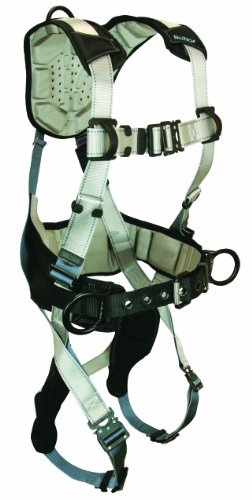 FallTech 7089L FlowTech Belted Construction Full Body Harness with 3 D-Rings, FlowScape Pads, Quick Connect Legs and Chest, Gray/Black, Large (Connect Quick Leg)