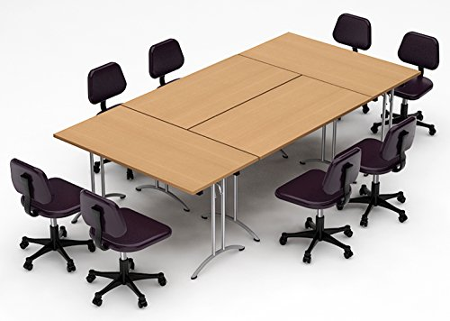 TeamWORKTables 2916 Compact Space Maximum Collaboration Meeting Seminar Conference Tables, Assembled, Easy-to-Setup-and-Use, Natural Beech, 4 Piece Combo (Chairs Not - Modular Table Conference