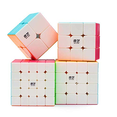 Speed Cube Bundle, QiYi Stickerless 2x2 3x3 4x4 5x5 Bright Smooth Magic Puzzle Cube Set Educational Toys with Gift for Kids and Adults