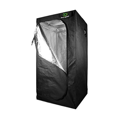 EasyGrowth 32''x32''x64'' Reflective Mylar Hydroponic Grow Tent with Waterproof Floor Tray for Indoor Plant Growing