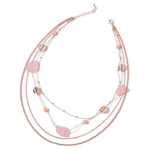 Strand Necklace for Women Rose Quartz Glass Chroma Rosetone Jewelry Gift 23