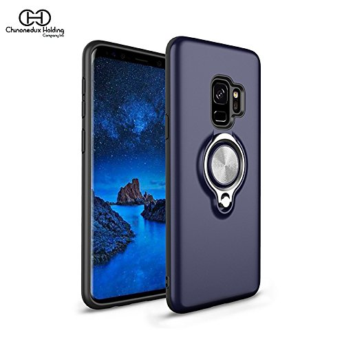 Chinonedux's Phone case Compatible Samsung Galaxy S9 Case,360°Adjustable Finger Ring Case, Slim Soft TPU Shockproof Anti-Scratch Kickstand Case (Blue, S9) ()