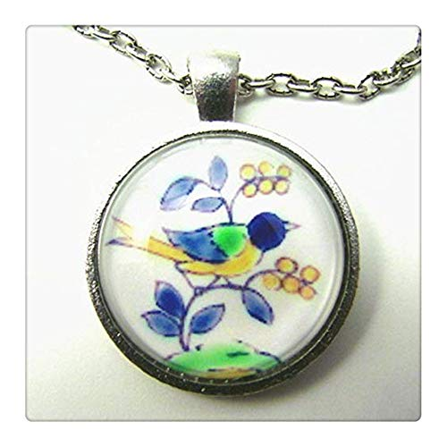 Swallow with Berries Necklace,Friendship/Good Luck Token, Spanish Tile, Autumn Fruit, for Bird and Nature Lovers