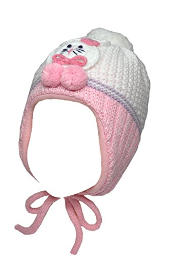 Price comparison product image Ambra Girls Warm Earflap Hat in Baby Pink