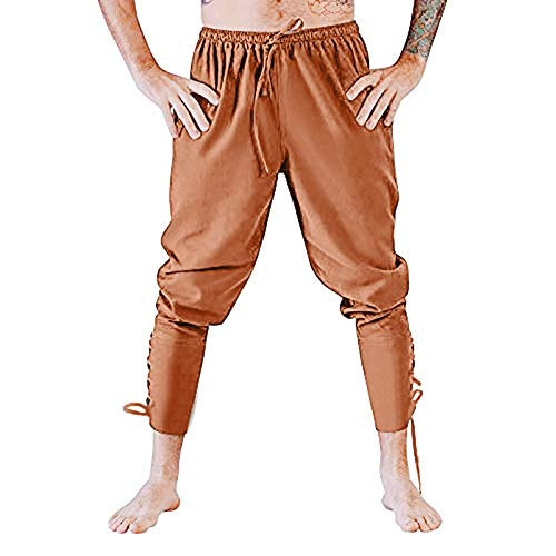 PASATO Clearace Sale! Mens Fashion Autumn Joggers Solid Color Casual Drawstring Sweatpants Trousers(Brown, XL)