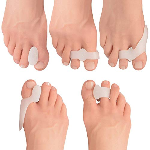 Toe Separator Silicone Orthotics Set - Auxiliary Treatment of Hallux Valgus Pain, Tailoring Bunion Cyst, Big Toe Straightener, Toe Separator Pad (10 Pieces)
