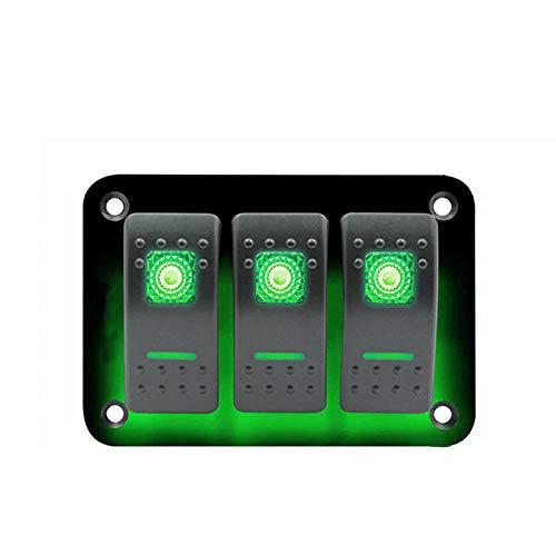 3 Gang Rocker Switch Panel 12~24V Universal Car Marine Waterproof LED Toggle Switch Panel with Blue Light